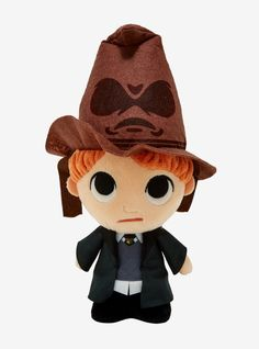 The lil' baby wizard Ron from Harry Potter is being sorted into his house as a magical SuperCute Plushies collectible plush from tallPolyesterImportedBy Funko Harry Potter Plush, Sorting Hat, Lil Baby, Plushies, Disney Characters, Fictional Characters, Teddy Bear, Disney Princess, Hats