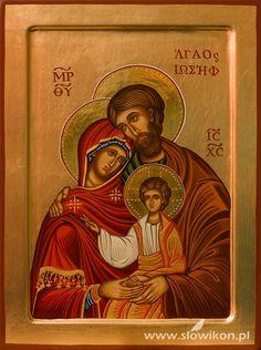 Holy Family icon by Aneta Słowik Holy Family, Jesus Christ, Christianity, Catholic, Baseball Cards, Santa Maria, Inspiration, Greek, Google