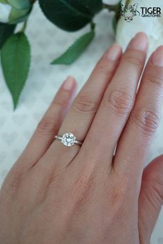 1 ct White Gold 6 Prong Solitaire Ring Engagement Ring Man Made Diamond Simulant Wedding Ring Anniversary Ring One left! 1 ct White Gold 6 Prong Solitaire Ring Engagement Ring Man Made Diamond Simulant Wedding Ring Anniversary Ring Round Solitaire Engagement Ring, Diamond Solitaire Rings, Designer Engagement Rings, Cushion Solitaire, Simple Solitaire, Engagement Jewelry, Halo Engagement, Blake Lively, 1 Karat
