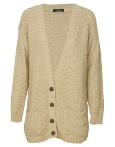 Chunky Knit Button Front Grandad Cardigan in Beige $ 26.23 #chiarafashion