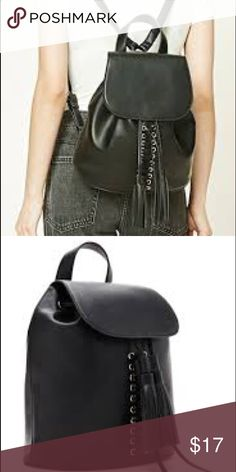 !!!!!!!SALE!!!!Black lace up fringe backpack Black fringe lace up backpack Forever 21 Bags Backpacks