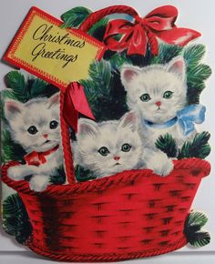 Vintage Christmas Kitties in a basket card * 1500 free paper dolls Christmas gifts artist Arielle Gabriels The International Paper Doll Society also free paper dolls The China Adventures of Arielle Gabriel *