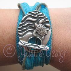 Zilverklei sluiting | Silver Clay Silk Wrap Bracelets - custom toggle for a fabric bracelet
