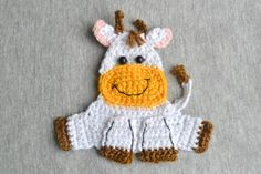 This listing is for instant download PDF CROCHET PATTERN, not a finished item.  Cow applique, Pattern No. 102  This cute smiling cow applique pattern can be used to embellish your kids blankets, clothes, etc. It measures approximately 4 inches wide and 4 inches high when crocheted using fingering weight yarn and size C/2.5 mm crochet hook. You need to know basic crochet stitches to be able to make one yourself. The instruction includes plenty of photos to assist you. The pattern is written…