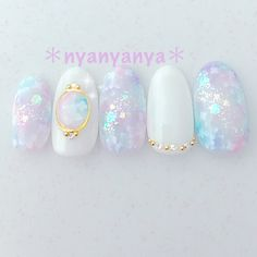 Pretty and delicate Stylish Nails, Trendy Nails, Cute Nails, Korean Nail Art, Korean Nails, Elegant Nail Designs, Nail Art Designs, Asian Nails, Japan Nail
