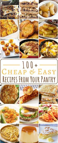 Cheap and Easy Pantry Recipes I can' wait to try a lot of these. They look super delicious 100 Cheap and Easy Pantry RecipesI can' wait to try a lot of these. They look super delicious 100 Cheap and Easy Pantry Recipes Cheap Easy Meals, Inexpensive Meals, Cheap Dinners, Frugal Meals, Easy Dinners, Freezer Meals, Budget Dinners, Cheap Food, Super Cheap Meals