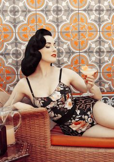 dita von teese // cointreau | love this set floral & snow leopard print together look pretty nice!