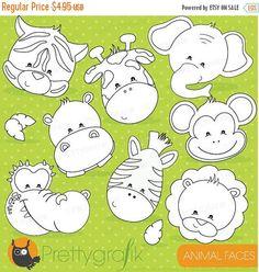 80% OFF SALE Animal faces digital stamp commercial use vector graphics digital stamp digital images - DS719 (0.99 USD) by Prettygrafikdesign