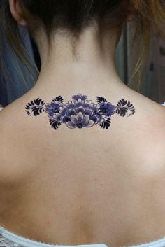 Large floral Dutch 'Delfts Blauw' temporary back by Tattoorary, | http://awesometattoopics.lemoncoin.org