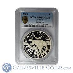 2003 1 oz Australian Proof Silver Kangaroo - PCGS PR69 DCAM http://www.gainesvillecoins.com/