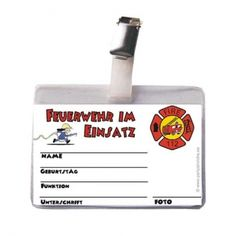 Feuerwehr Ausweis für Kindergeburtstag