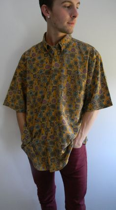 Mr. Finster Vintage Men's Yellow Paisley Shirt by HippieWasteland, $13.00