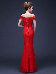 Trumpet/Mermaid Off-the-shoulder Floor-length Lace Evening Dress – USD $ 59.99