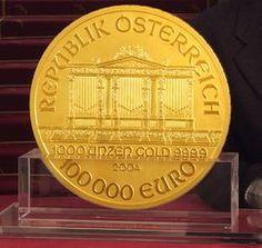 Austria 100000 euros obverse Bullion Coins, Gold Bullion, Vienna Philharmonic, Euro Coins, Gold Coins, Precious Metals, Austria, Auction, Big