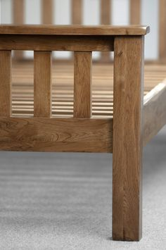 Rustic Solid Oak Bed - Footboard close up.