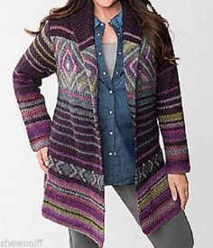 Lane-Bryant-lovely-Eggplant-Purple-multi-colored-patterned-sweater-coat-18-20