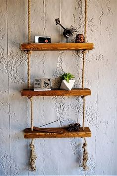 Massive Handmade 3 Shelves with Rope - ezavision Custom Jewelry Design, Custom Design, Window Boxes, Autumn Trees, Kitchen Furniture, Natural Wood, Floating Shelves, Home Accessories, House Design