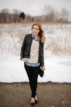 leather jacket, chambray shirt, skinny pants, heels
