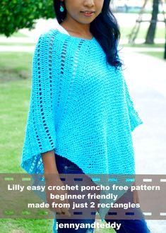 Crochet Shawl easy crochet ponchos free pattern by jennyandteddy photo Crochet Shawl Free, Basic Crochet Stitches, Crochet Basics, Crochet For Beginners, Knit Shrug, Poncho Shawl, Knitting Patterns, Crochet Patterns, Knitting Projects