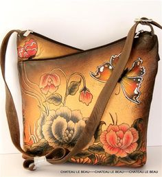 Painted leather purse