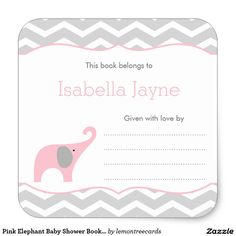 Pink Elephant Baby Shower Book plate labels, girl