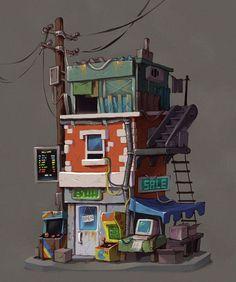 ArtStation - Retro postapo buildings, Krzysztof Maziarz: