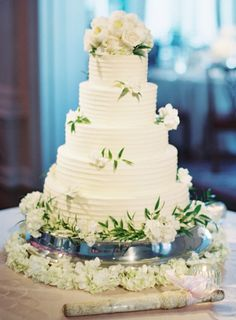 Wedding Cake with White Roses | photography by http://www.claryphoto.com/