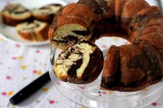 Eggless marble bundt cake recipe. A light, moist cake with a tender crumb. .