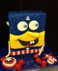 Sponge Bob Captain America Pants cake by Crazy Cakes and Classy Confections :-)