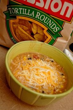 CHICKEN TORTILLA SOUP    1 can chicken broth    1 can cream of chicken soup    2 tbsp taco seasoning    1 can diced tomatoes with green chilis  1 can black beans    1 can whole kernel corn    3-4 chicken breasts, cooked & shredded