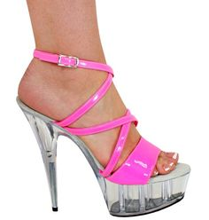 Neon Pink Heels with Criss Cross Strap, 6″ Clear
