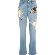 Alexander McQueen Obsession embellished cropped high-rise slim-leg... (£1,325) ❤ liked on Polyvore featuring jeans, bottoms, embroidered jeans, slim fit blue jeans, high waisted button jeans, alexander mcqueen and embellish jeans