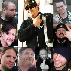 Slipknot unmasked. in order from top left to top right with middle last   dunno, Jim Root, Chris Fehn, dunno, Shawn Crahan, dunno, Mick thompson,Sid Wilson, dunno