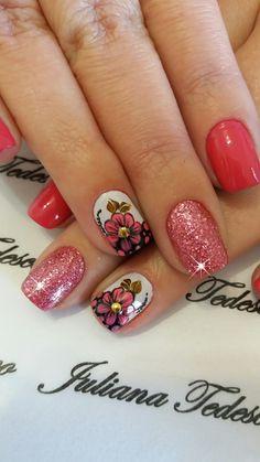 Em Nails, Cute Nails, Pretty Nails, Nail Desighns, Flower Nail Art, Cute Nail Designs, Gorgeous Nails, Mani Pedi, Nail Arts