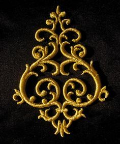 Gold Trim Applique Iron on Patches on AngelTrim. Nice design but too delicate to add stones to it.
