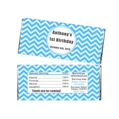 Printable Personalized Chevron Blue Birthday Party Candy Bar Wrappers Label Stickers - Custom Birthday Party Decorations DIY Party Favors