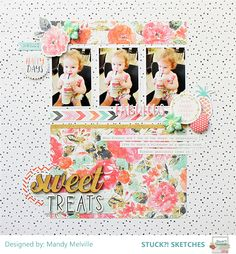 Sweet Treats | Stuck?! Sketches March 15th DT Layout | Cocoa Vanilla Studio Free Spirit collection