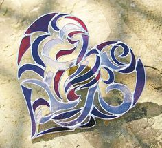 Stained Glass Heart Intricate Valentine Heart Tribal Motif