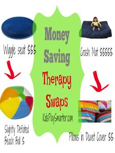 Save money when purchasing pediatric therapy equipment with these tips from an occupational therapist!