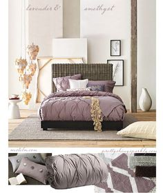 I am so loving lavender and grey for a master bedroom!