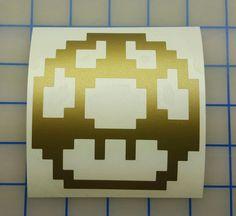 Nintendo  Mario Brothers 8 Bit 1 Up Mushroom Decal  by RidinNerdy