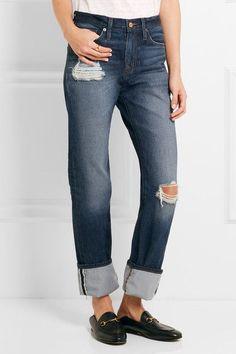 J.Crew - Distressed High-rise Boyfriend Jeans - Indigo - 26