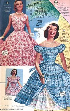 Florida Fashions, 1957 pink blue party dress floral pull skirt off shoulders puff sleeves sleeveless belt bow tiered photo print ad prom cocktail late 50s styles