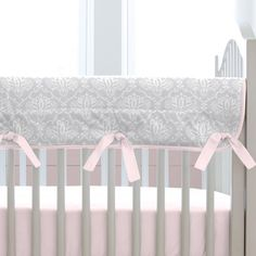 Crib bedding to complete the perfect nursery by Carousel Designs. All of our nursery bedding collections are made in the USA and available for both baby boys and baby girls. Baby Gurl Nursery, Baby Girl Crib Bedding, Nursery Bedding, Baby Cribs, Pink Damask, White Damask, Crib Rail Cover, Carousel Designs, Bedding Collections