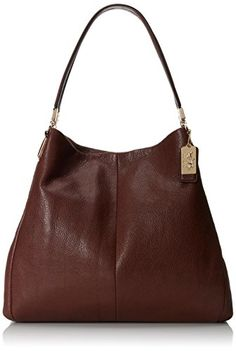 195acde9dfd6 Coach Madison Phoebe Small Leather Shoulder Bag in Red Brick   Gold Red  Bricks