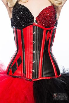Harley Quinn Inspired Long Line Corset by CastleCorsetry on Etsy