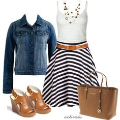 I'd like this look for a wedding but not with a striped skirt and definitely not those shoes (not my style). Fashionista Trends, Casual Outfits, Cute Outfits, Fashion Outfits, Fashion Trends, Skirt Outfits, Classy Outfits, Work Outfits, Spring Summer Fashion