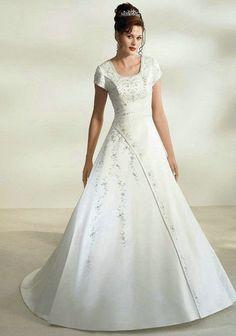 modest princess wedding dress   Modest Princess Style Satin Wedding Dress $325.00, embroidered bodice ...