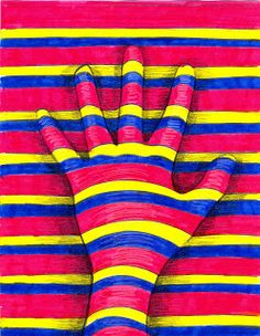 The Lost Sock : Art Elements using Hands - we've done this - just not coloured in.  I like.