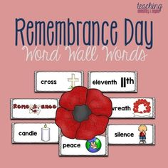 Remembrance Day Word Wall Words and Writing Prompts Remembrance Day Activities, Remembrance Day Art, Kindergarten Curriculum, Anzac Day, Letter Recognition, Teaching Activities, Letter Sounds, Sight Words, Help Kids